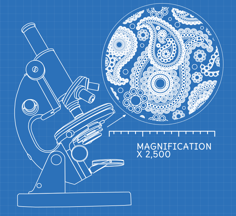 Blueprint style diagram showing an optical microscope. The sample inside is magnified in a bubble to 2,500 times, showing it to be a complex, detailed paisley pattern.