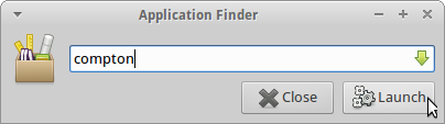 Screenshot of the XFCE Applications Filder launching Compton.