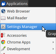 Screenshot of the XFCE Applications menu, with the Settings Manager highlighted.