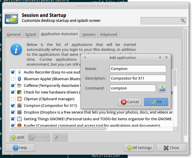 Screenshot of the XFCE Settings Manager - Session and Startup window, showing the filled in 'Add application' box.