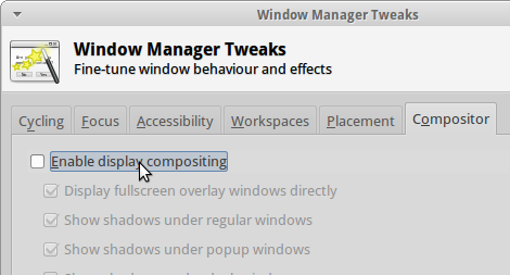 Screenshot of the XFCE Settings Manager - Window Manager Tweaks window, with 'Enable Display Compositing un-ticked'