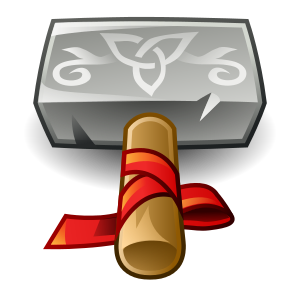 Thunar's icon, a beautifully rendered, stylized version of Thor's hammer, Mjölnir.