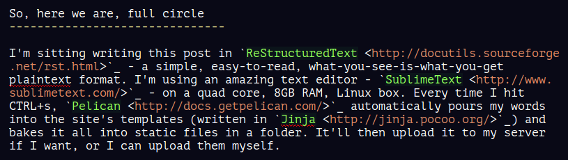Screenshot of the above paragraph being written in SublimeText.